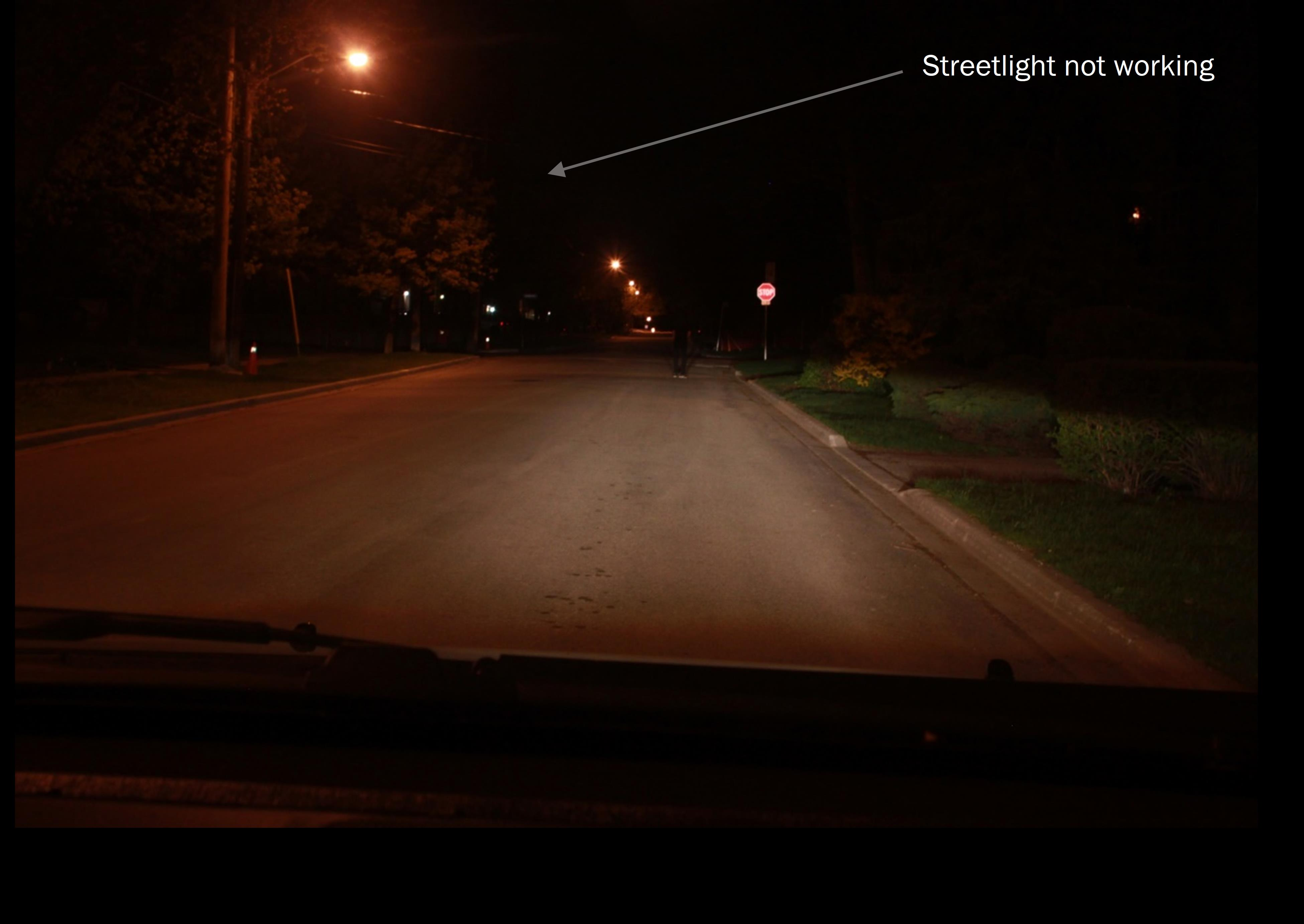 Streetlight not working - 3 seconds before collision